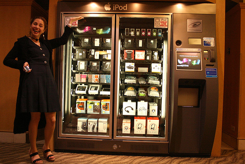 Sarah Meyers at an iPod Vending Machine