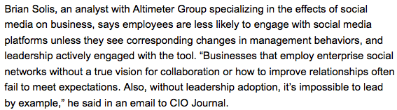 Internal social networks improve communication + collaboration when empowered to do so