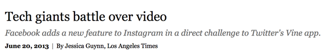 Los Angeles Times Compares Facebook's Instagram Video to Twitter's Vine with Brian Solis