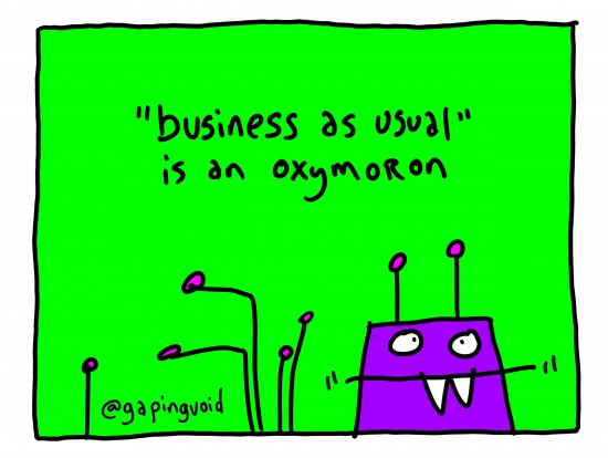 Hugh MacLeod (@gapingvoid) Celebrates the Release of The End of Business as Usual with Original Cartoon
