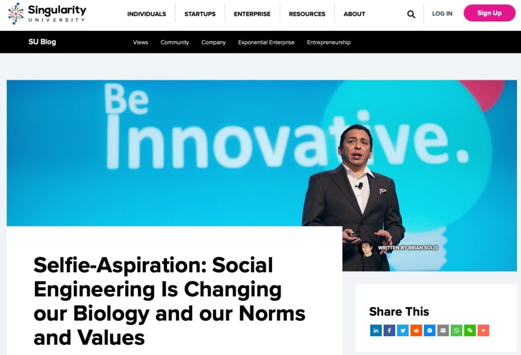 Singularity University Features New Articles by Brian Solis on the SU Blog