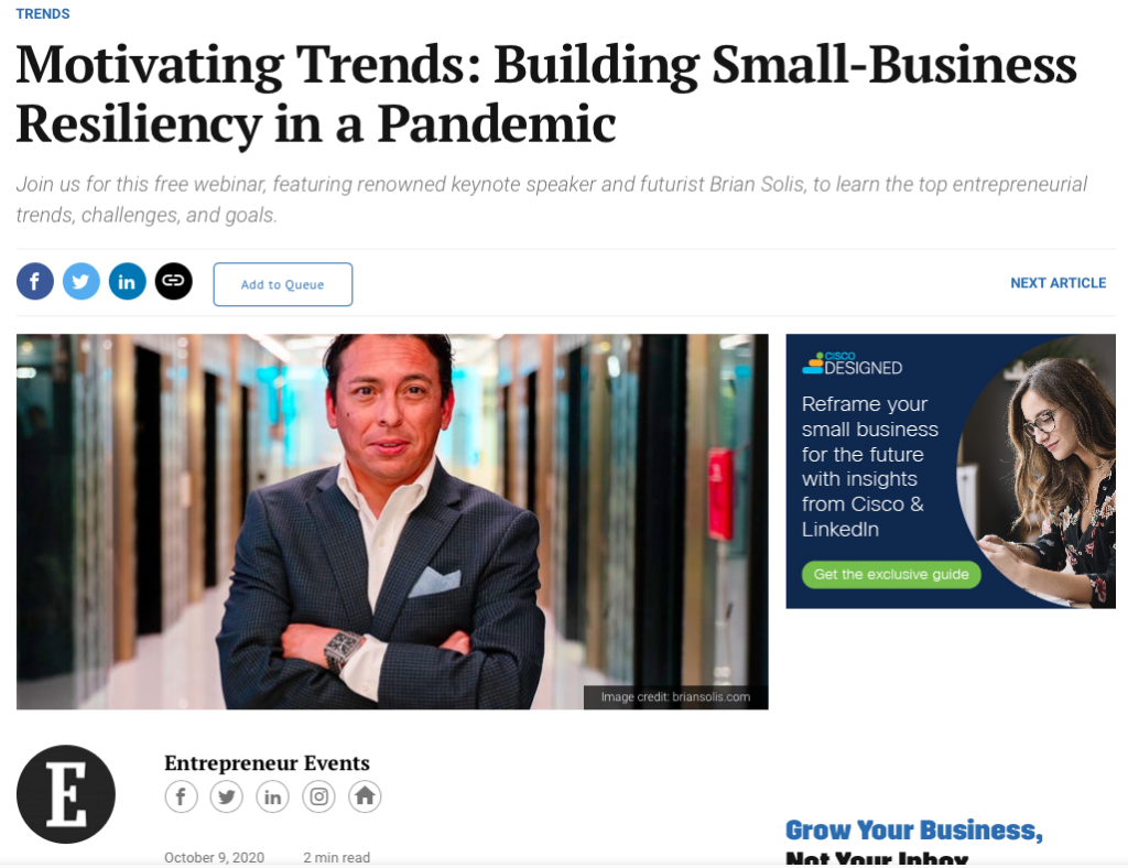 Entrepreneur Hosts Webinar featuring Brian Solis Interviewed by Journalist and CultureBanx CEO Kori Hale