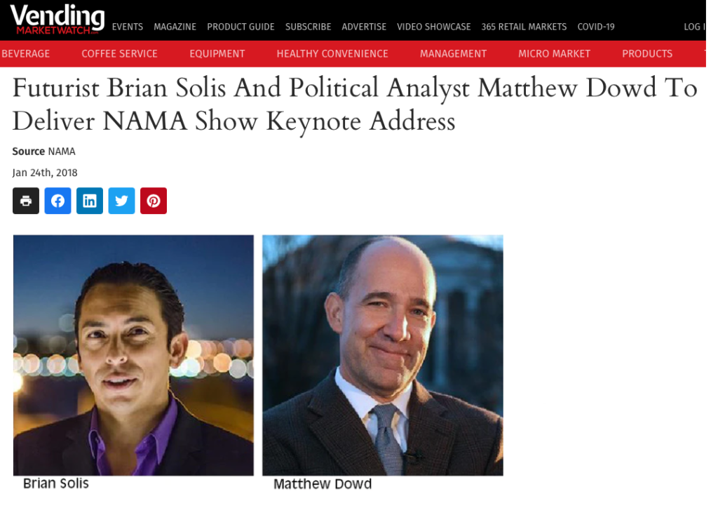 Futurist Brian Solis And Political Analyst Matthew Dowd To Deliver NAMA Show Keynote Address